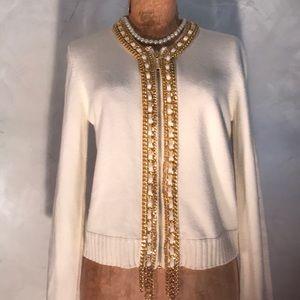 Michael Kors Gold Chain Zip Cardigan X6